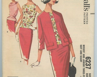 1960s McCall's 6237 Misses' Three Piece Suit Skirt, Sleeveless Blouse, Cardigan Jacket Scarf Vintage Sewing Pattern Bust 32