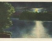 Vintage Linen Postcard - Night Scene - Moonlight on Lake 1930s Colourpicture Publication