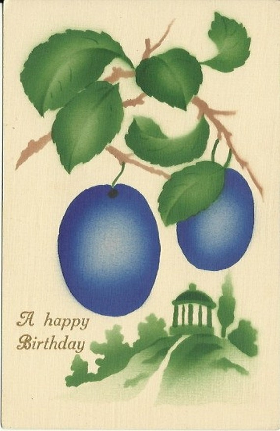 "Antique Postcard Purple Plums & Gazebo Stenciled Airbrushed Art Greeting Card ""A Happy Birthday"" Germany 1910s"