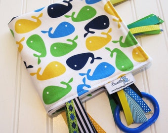 Sensory Ribbon Blanket,Lovey,Tag Blanket/Whales in Bright/Organic Cotton Fleece