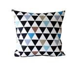 Black Blue Brown Triangle Decorative Pillow| Geometric Pillow| Black And White Cushion