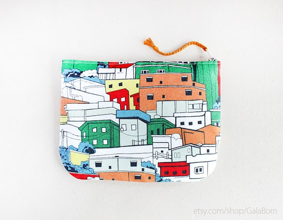 Happy city pouch - Zippered pouch - Orange green blue - Anti stain fabric