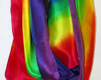 rainbow silk shawl/scarf, spiritual gift, womens gift, ohm scarf, yoga scarf,meditation, prayer shawl, chakra scarf, prayer scarf,reiki,