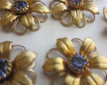 Vintage Swarovski Tanzanite Crystal Flower Finding With Hoops