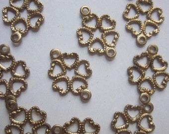 12 Flowery Brass Vintage Connectors