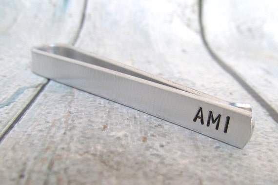 Men's Personalized Tie Bar - Hand Stamped Accessories Personalized Tie Clip Custom Mens Gift -  Wedding - Custom Tie Bar Gift for Him (001)