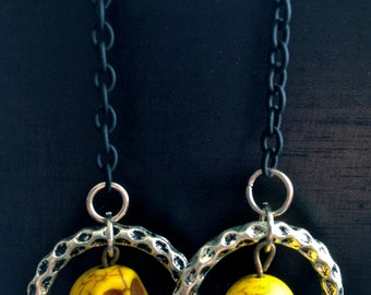 Halloween Earrings,Yellow Skulls With Metal Loop, Steampunk