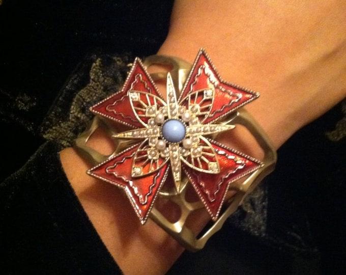 Mighty Maltese Cross Bracelet ~ Vintage Maltese Cross Brooch Bracelet
