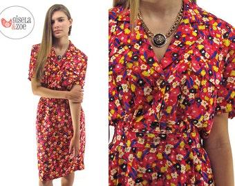 80s Valentino Floral Silk Dress ΔΔ Poppy Fields Vintage 80s Valentino Dress ΔΔ  sm / md