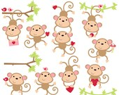 valentine clipart clip art monkey love hearts - Monkey Love Digital Clip Art