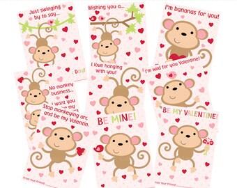 printable valentines monkey love valentine's day - Monkey Love Valentines Digital Printable