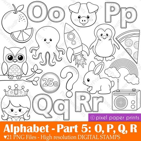 One Line Letter Art : Alphabet digital stamps part opqr clip art school