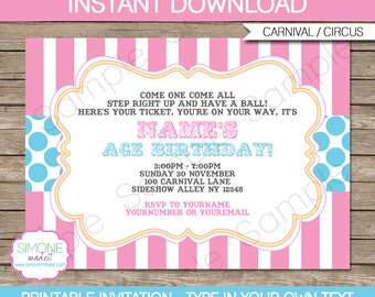 Pink Carnival Party Invitation - Pink Aqua - Circus or Carnival - INSTANT DOWNLOAD with EDITABLE text - you personalize at home