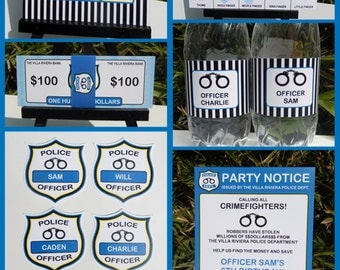 Police Party Invitations & Decorations - full Printable Package - INSTANT DOWNLOAD with EDITABLE text - you personalize at home