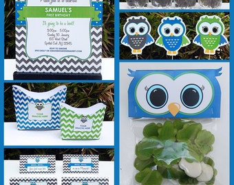 Owl Party Invitations & Decorations - full Printable Package - INSTANT DOWNLOAD with EDITABLE text - you personalize at home