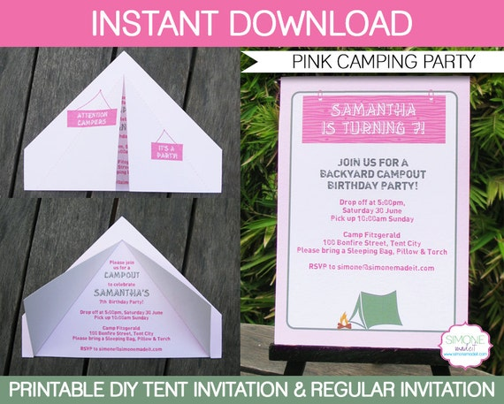 camping tent invitation template birthday party pink girls