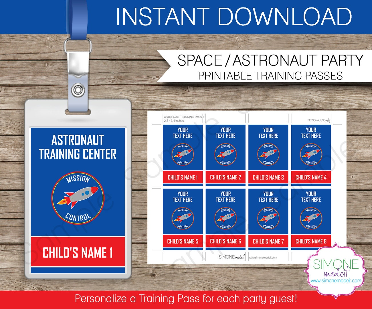 Space Party Astronaut Training Pass Printable Insert INSTANT