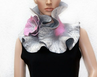 Handmade Felted Scarf collar neck warmer grey and pink with felted brooch Grey flower Made to order