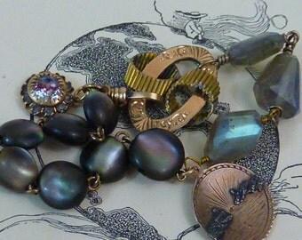SAFE PASSAGE watch fob chain vintage assemblage antique VICTORIAN bracelet