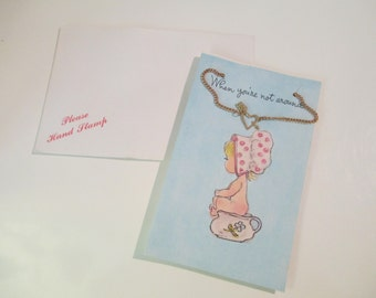 Adorable Kitsch Vintage 70's GIFT Card with Necklace DEADSTOCK
