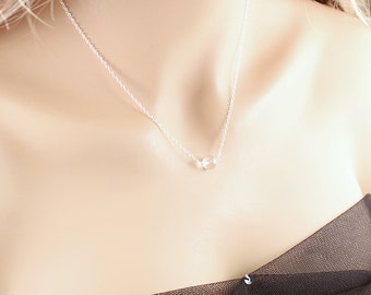 Small clear crystal necklace, simple necklace natural white quartz necklace, sterling silver jewelry white crystal ball