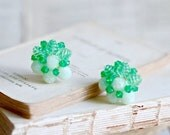 Green Clip on Earrings - Made in Germany