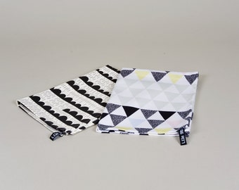 Set of 2 Geometric Tea Towels Soft Triangles & Rainy Days modern dish cloth kitchen linen