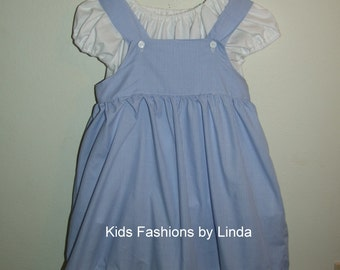 White Peasant Top with Blue Gingham Jumper Dress