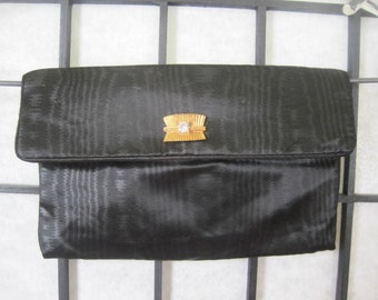 Vintage Clutch Black Satin Moire Purse Small Evening Bag with Goldtone Metal Rhinestone Snap 1950s 1960s
