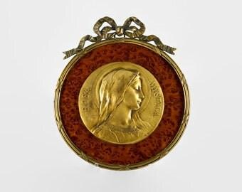 "Antique Emile Dropsy ""Rosa Mystica"" Framed Gilt Bronze Plaque"