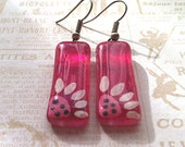 Glass Earrings, Pink  Earrings with Sunflowers, Hand Painted Glass Jewelry, Pink Earrings with Sunflower, Silver Plated Earwires