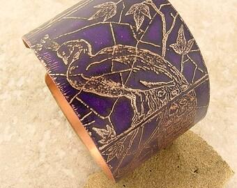 """Etched Copper Cuff Bracelet, Peacock Motif, Grape, 1.5"""" Wide"""