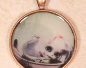 Cute Doll Necklace, Art Pendant. Blythe bath time charm,  circle, round, bronze, black lodge jewelry