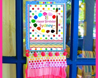 PAINTING Party DOOR SIGN ~ Personalized Printable Download