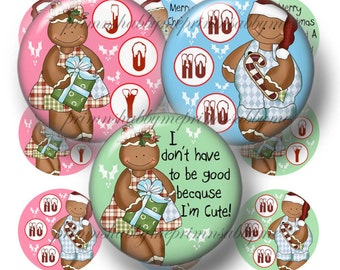 Gingerbread, Bottle Cap Images, Christmas Digital Collage Sheet, 1 Inch Circles, Digital Download (Gingerbread Kids 1)