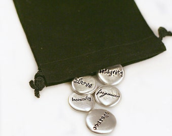 Personalized Pocket Stones- Pewter Message Stones - Affirmations - Pocket Pebbles - Pocket Tokens
