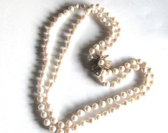 Vintage DeMario Necklace Baroque Pearl signed Fancy Clasp 1950s Wedding
