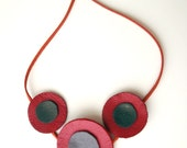 Abstract Red Poppy Necklace, Three poppies necklace, Impact necklace, Dark crimson red poppies, natural recycled leather
