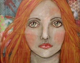 "Original Mixed Media Portrait Painting ""The Flame"" by Lore"