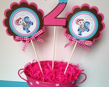 3 Sheriff Callie Birthday Party Centerpiece Sticks in Pink, Brown and Aqua