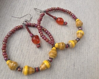 Warm colors Paper hoop earrings with carnelian ~ autumn colors ~ reduced