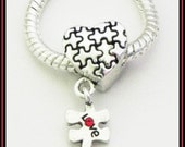 Unique - HEaRT- JIGSaW PuZZLE Pieces - Love - Red Crystal - AUTiSM AWARENeSS - Great Quality Dangle Charm - fits European Bracelets - MD-27
