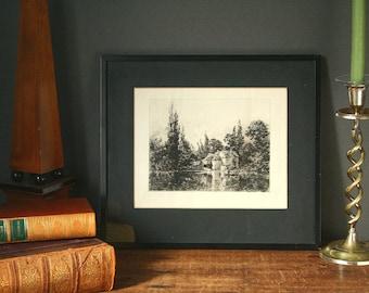 Antique engraving, framed engraving, England