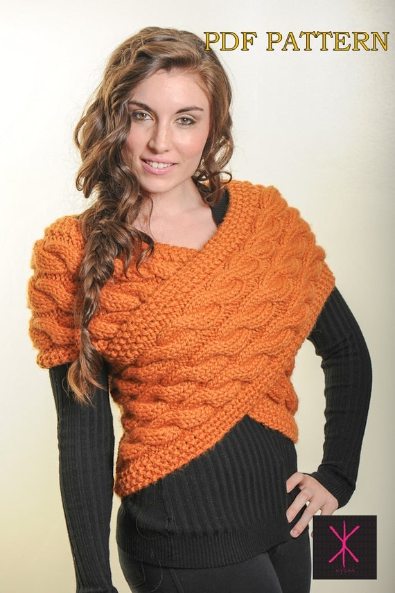 Knit Sweater Vest Pattern : Knitting Pattern Handknit designer Sweater Vest Wrap PDF