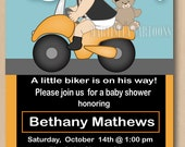 Motorcycle baby shower invitation, first birthdday invitation,  printable biker baby invite, coed shower, dark skin baby available
