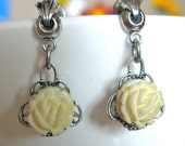 Vintage Victorian Rose Earrings Antiqued Silver Post Costume Jewelry