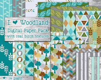 Woodland Instant Download Digital Paper Pack