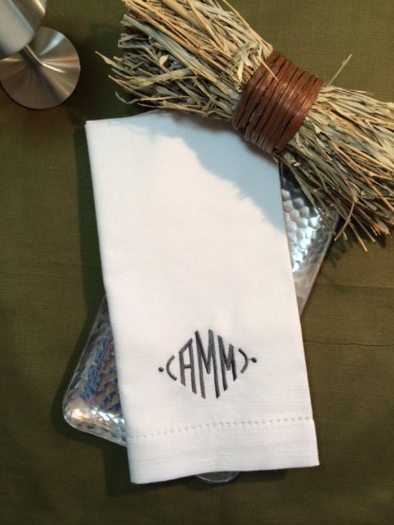 Modern embroidered monogrammed cloth by whitetulipembroidery