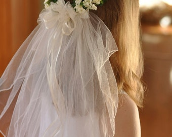 Vintage Communion Veil with Ivory, Cream flowers and Veil.