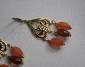 Gold Dangle Earrings with Brown and Orange Resin Beads